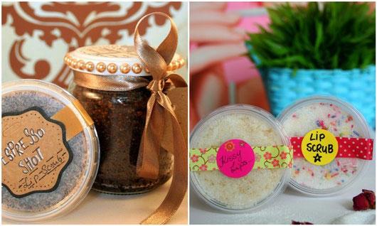 Körperpeeling und Lippenpeeling mit Kaffee, Zucker und Mandelöl