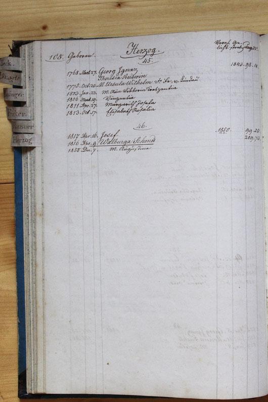 Original-Familienbuch von 1846: Seite 105