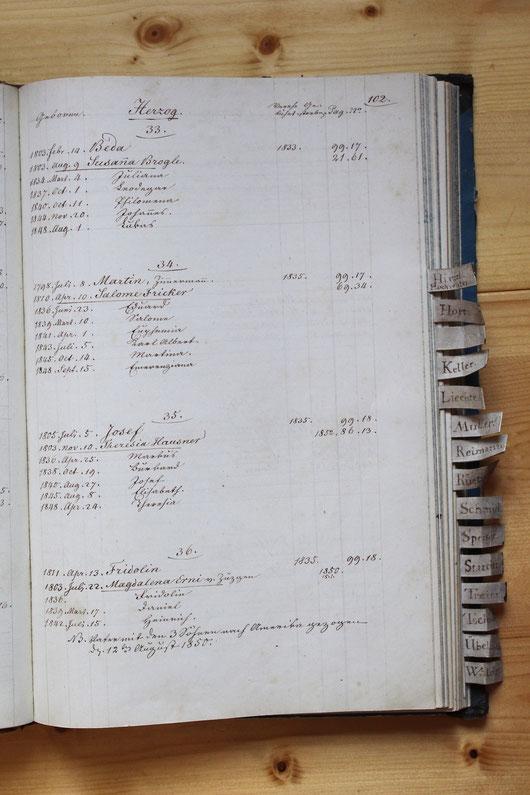 Original-Familienbuch von 1846: Seite 102