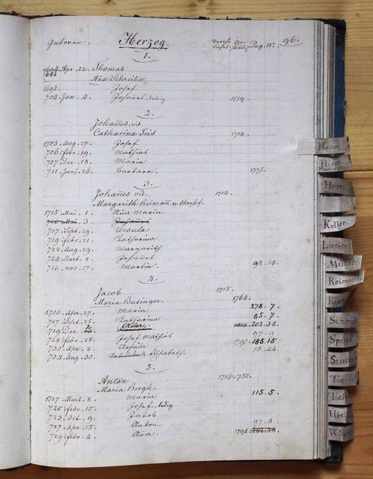 Original-Familienbuch von 1846: Seite 96