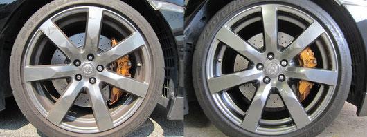 nissan GTR のハイパーガンメタリック20インチ純正アルミホイールのガリ傷・擦りキズ・欠けのリペア(修理・修復・再生)前後の比較写真2