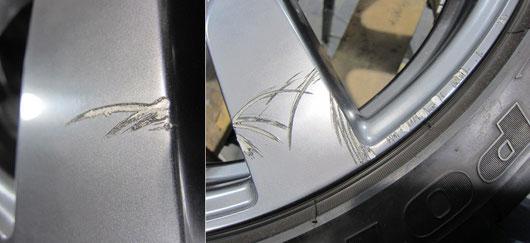 nissan GTR 右前輪20インチハイパーガンメタ純正ホイールのガリ傷リペア前の傷アップ写真