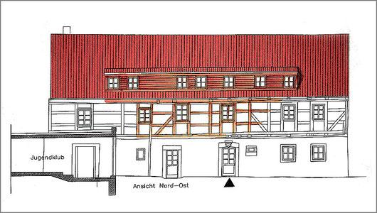 Nord-Ost-Ansicht, Teilzeichnung aus dem Projektplan, Archiv HVVC