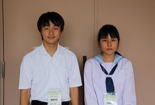 左から 服部宇良くん(2年)、佐藤薫さん(2年)