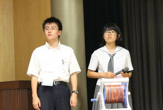 左から 本田陸人くん(2年)、藤井悠野さん(2年)