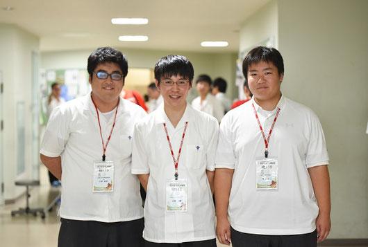 左から 小林拓未くん(3年)、近藤大泰くん(3年)、青木宏樹くん(3年)