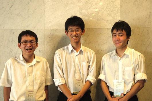 杉田武弘くん(左)、高瀬伶音くん(中)、若林隼平くん(右)