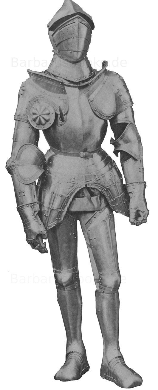Ritterrüstung aus dem ersten Viertel des 16. Jahrhunderts mit Visierhelm