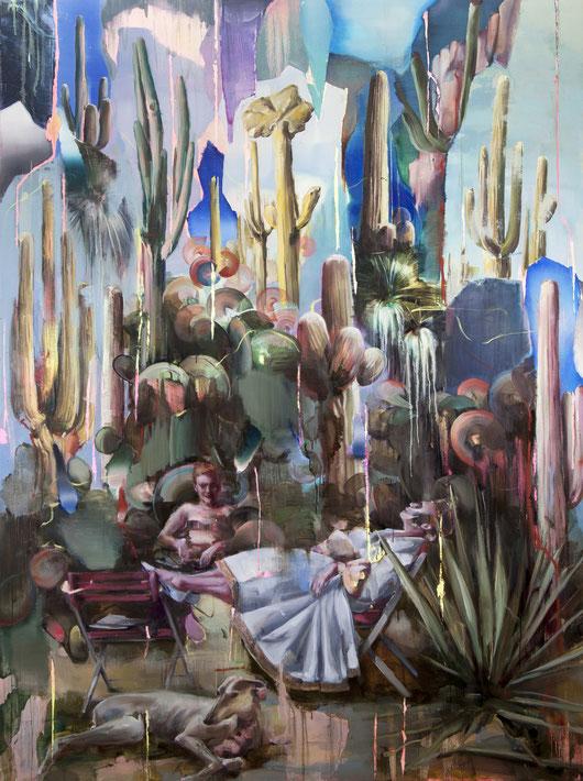 o.t. (cactus), 230 x 160 cm, oil on linen, 2019