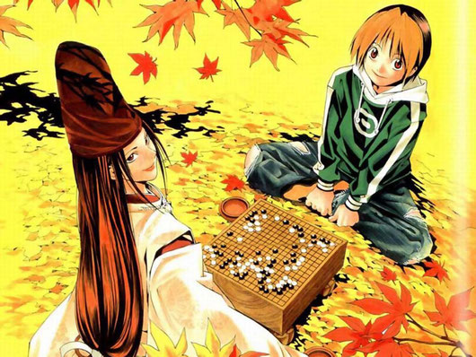 Scene from Hikaru no Go, a popular Japanese anime and TV series about go