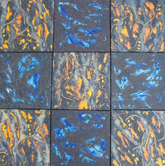 Feuer, Wasser, Erde, 9 x 30 x 30 cm, Spachtelmasse, Acrylfarbe
