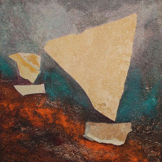 ohne Titel, 30 x 30 cm, Spachtelmasse, Acrylfarbe, Steinplatten