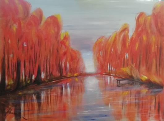 """""""Herbststimmung am See""""   Öl auf Leinwand"""
