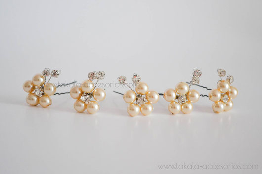Horquillas de novia, tocado de perlas, tocado de flores