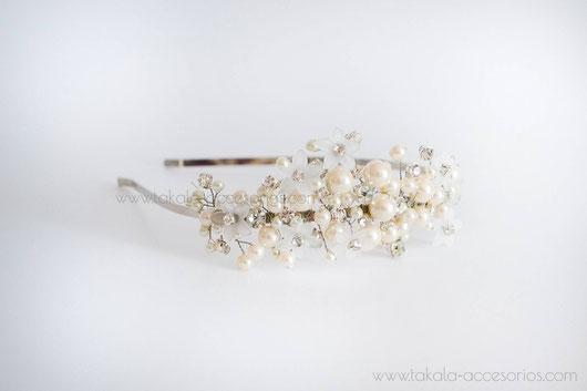 vincha perlas, vincha flores, tocado de novia.