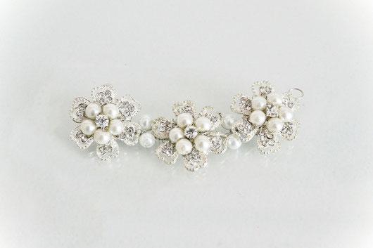 Tocado de novia, aplique de novia, tocado de perlas, strass, hebilla de novia