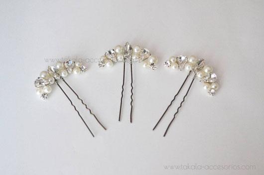 horquillas de novia, tocado de novia, tocado de perlas, tocado de cristal