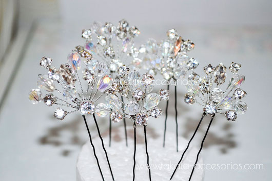 horquillas de novia, tocado de novia, tocados, cristales apliques de perlas,