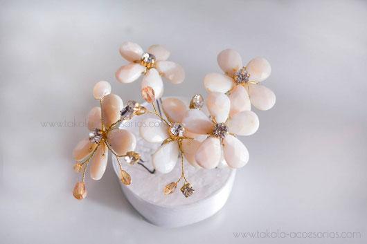 horquillas de nácar, tocado de novia, tocado de nácar, tocado de flores