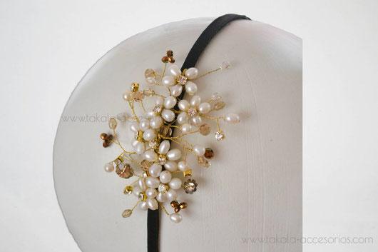 vincha novia, tocado novia, vincha perlas, tocado perlas