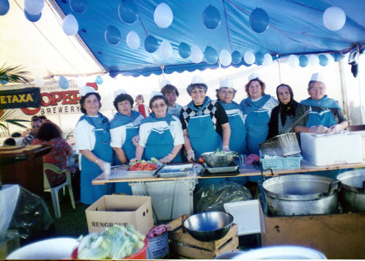 The Messinian Kiosk with the women volunteers at the Glendi Greek Festival 1990