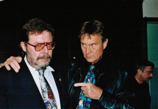 Mario Gomboli con il Diabolik cinematografico John Phillippe Law