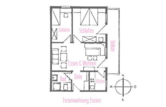 Ferienwohnungen Vogler, Reichenbach, Oberstdorf, FW Enzian Grundriss