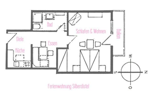 Ferienwohnungen Vogler, Reichenbach, Oberstdorf, FW Silberdistel Grundriss