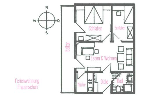 Ferienwohnungen Vogler, Reichenbach, Oberstdorf, FW Frauenschuh Grundriss