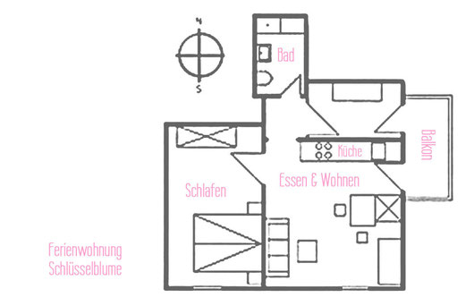 Ferienwohnungen Vogler, Reichenbach, Oberstdorf, FW Schlüsselblume Grundriss