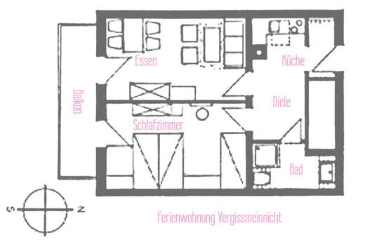 Ferienwohnungen Vogler, Reichenbach, Oberstdorf, FW Vergissmeinnicht Grundriss