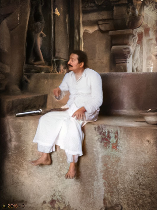 13. Meher Baba at the Ellora Caves in the mid 1930s.