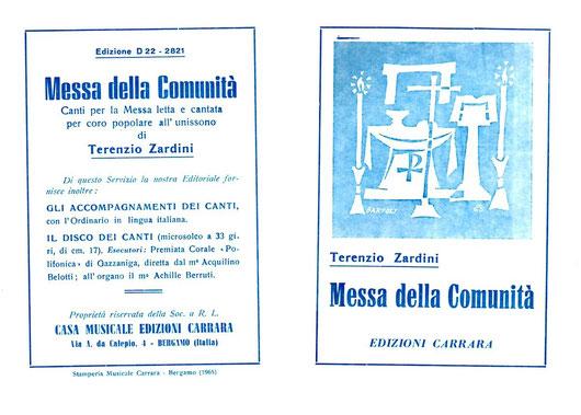 Messa della Comunità - Terenzio Zardini - Casa Musicale Edizioni Carrara - Bergamo - 1965