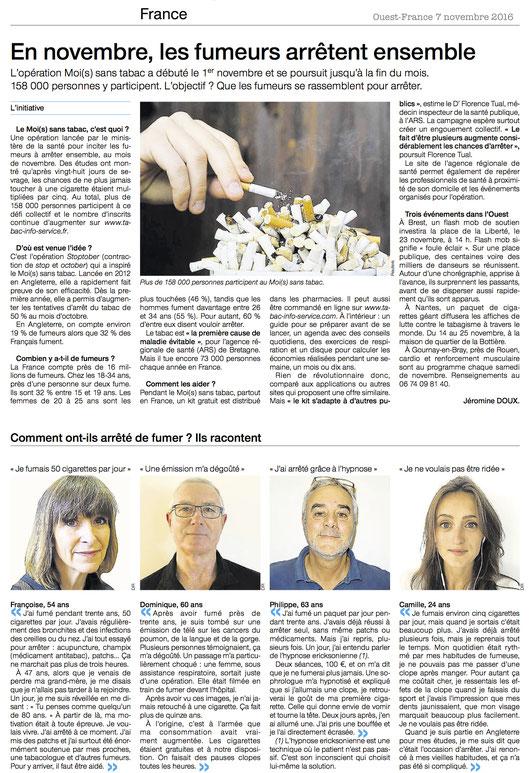Témoignages arrêt du tabac hypnose Rennes