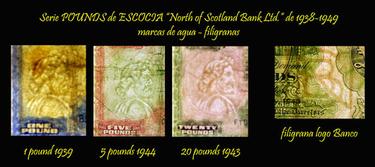Escocia Pounds 1939-48 North of Scotland Bank Ltd. marcas de agua-filigranas