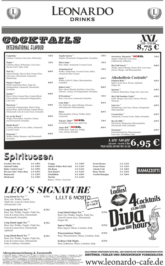 Cafe Leonardo© - Cocktails, Jumbo XXL Cocktails, die Leo´s Signature und mehr...
