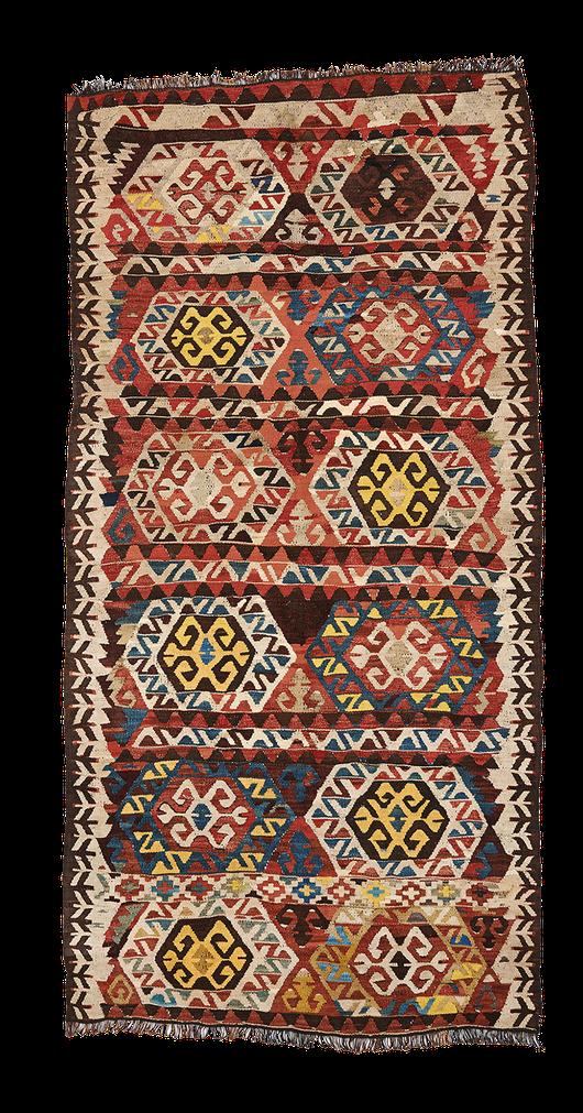Teppich. Zürich. Semi-antique ot antique Kilim, Cappadocian or Mut. Handgewebter Teppich, Kelim aus Turkey.