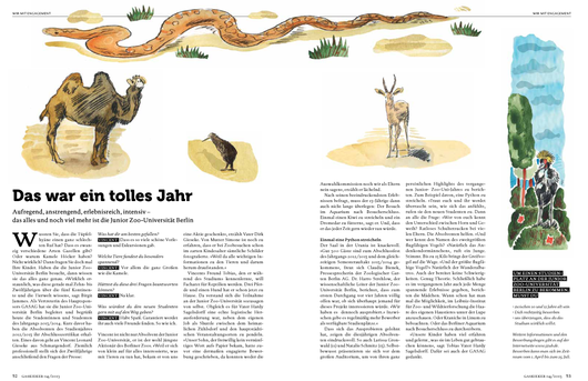 Kamel,Kiwi,Schlange,Gazelle,Afrika,Zoo,Berliner Zoo. Illustrationen von Niels Schröder für das Magazin Gaskieker der Berliner gasag. niels-schroeder