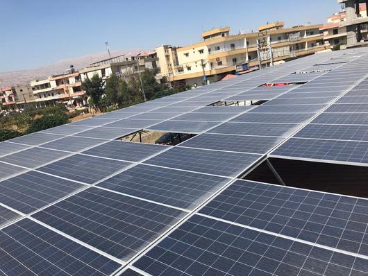 Solar panel on public building in Lebanon