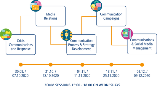 Module titles and timeline of the online communication training