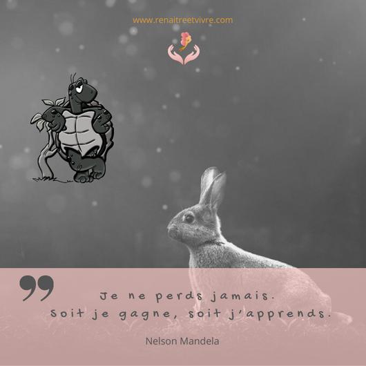 Citation N.MANDELA Je ne perds jamais, soit je gagne, soit j'apprends !
