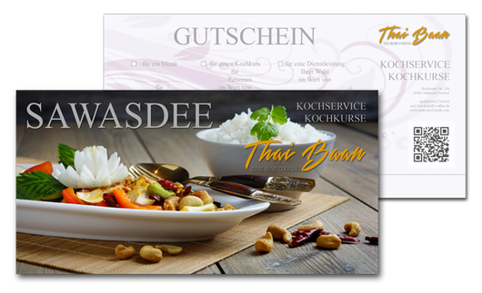Gutschein; Thai Baan Neudorf; Yupin Seidel; thailändischer Kochservice; Foodtruck; Kochkurs, Thaifood, gesunde Ernährung, Restaurant