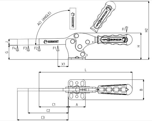 KUKAMET Horizontalspanner bzw. Waagrechtspanner oder Kniehebelspanner mit massivem Haltearm u. waagerechtem Fuß