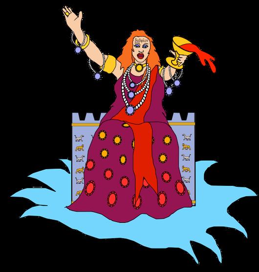 Babylone la grande se livre à la débauche avec les rois de la terre. Elle est assise sur de grandes eaux: des peuples, foules, nations et langues. Elle est vêtue d'habits luxueux  pourpre et écarlate et parée de bijoux, signes de pouvoir et richesse.