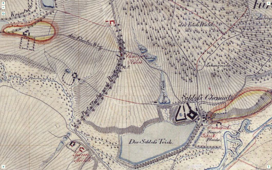 Schloß Chemnitz auf einer Karte
