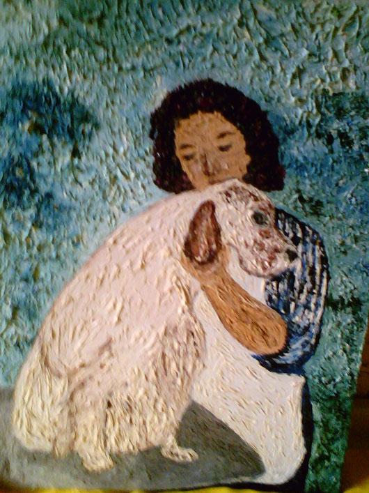 AL LAVORO - autoritratto 2008 - olio su tela 35x25