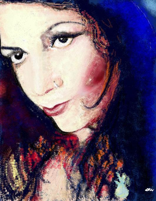 RITRATTO DI BIBIANA FERRARI - 2012 dipinto digitale. tecnica: spugne..