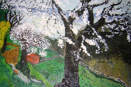 IL MANDORLO DI MAURIZIA - 2007 olio su legno 45 x 55