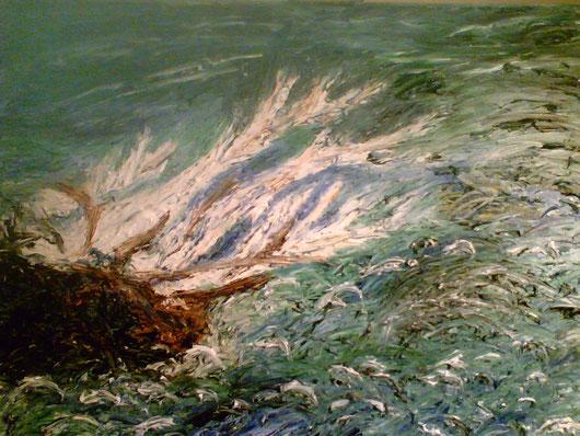 NAUFRAGIO mio primo quadro 2006 olio su legno. 25 x 30