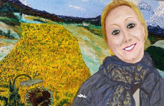 RITRATTO DI MLMARISA RAGAINI - 2012  - dipinto digitale tecnica pastelli a cera